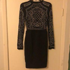 Blinged long sleeve dress